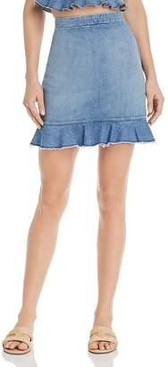 Show Me Your Mumu Kai Denim Flounce-Hem Skirt in Stream