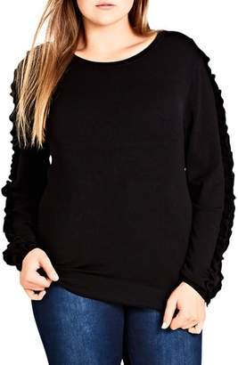 City Chic Charmed Ruffle Sleeve Sweater