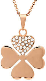Steel by Design Stainless Steel Crystal Clover Pendant w/ Chain