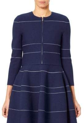 Carolina Herrera Knit Striped Zip Cardigan