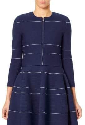 Carolina Herrera Knit Striped Zip Cardigan