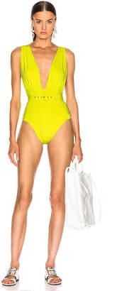 Nicholas Plunge Ruched Swimsuit in Fluorescent Lime | FWRD