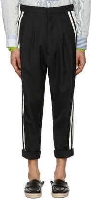 Haider Ackermann Black Wool Stripe Trousers $1,450 thestylecure.com