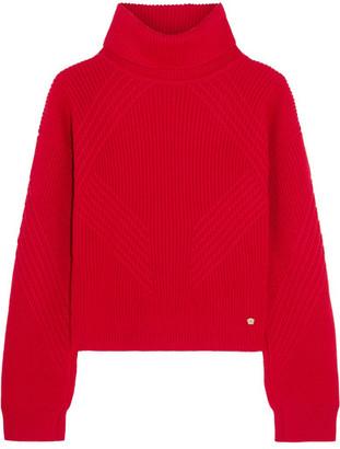 Versace - Split-sleeve Ribbed Wool Turtleneck Sweater - Red
