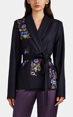 Alice Archer Women's Hettie Floral-Embroidered Wool-Cashmere Belted Blazer - Navy
