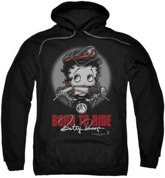 Betty Boop Hoodie Born To Ride Pullover Hoodie Size S
