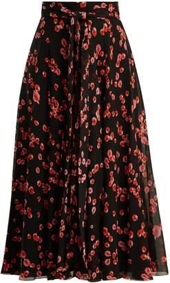Giambattista Valli Petal-print silk-georgette midi skirt
