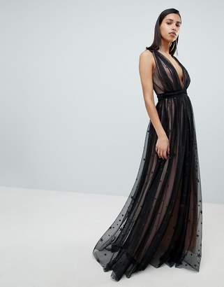 City Goddess Contrast Glitter Star Print Maxi Dress With V Back