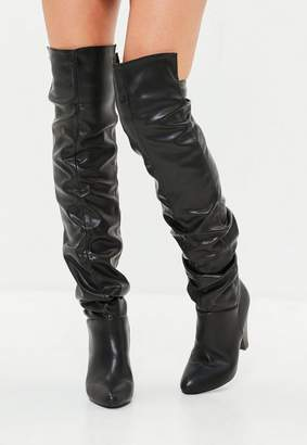 Missguided Black Faux Leather Ruched Over The Knee Boots