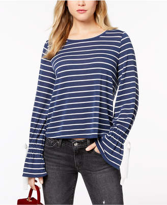 Maison Jules Striped Bell-Sleeve Top, Created for Macy's