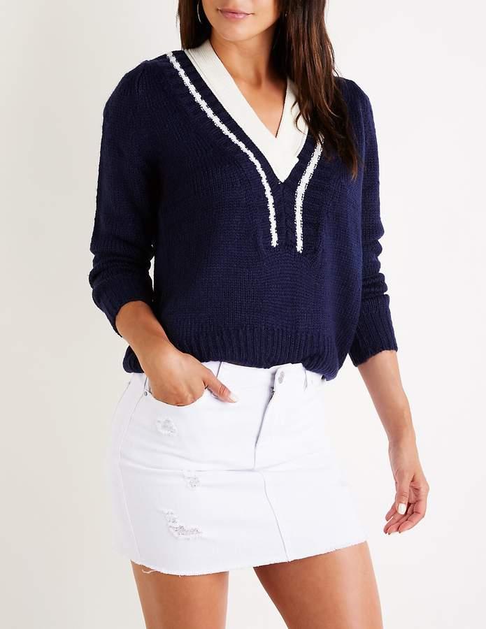 Charlotte Russe Varsity V Neck Sweater