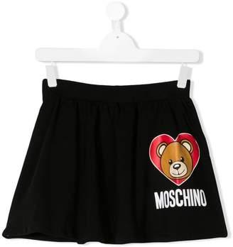 Moschino Kids TEEN teddy heart logo skirt