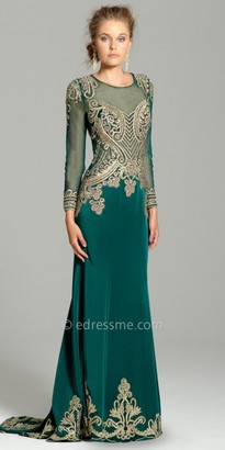 Camille La Vie Embroidered Long Sleeve Evening Dress $340 thestylecure.com