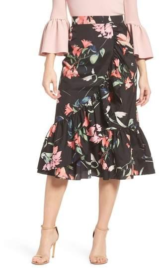 Floral Taffeta Ruffle Skirt