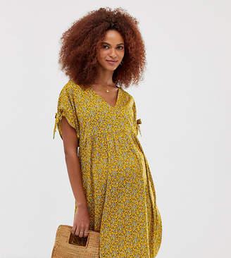 New Look Maternity tie sleeve smock dress in yellow