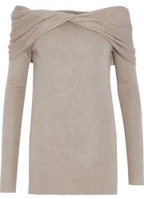 Derek Lam Off-The-Shoulder Twist-Front Cahsmere And Silk-Blend Sweater