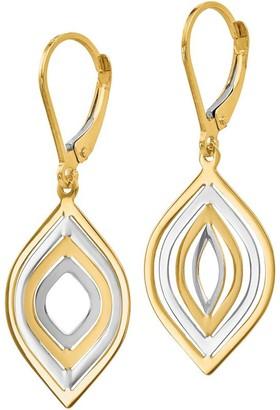 14K Gold Two-Tone Dangle Lever Back Earrings