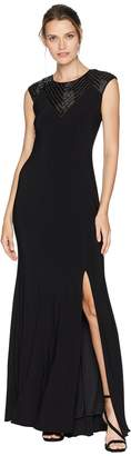 Adrianna Papell Long Jersey Gown with Beaded Neckline Detail Women's Dress