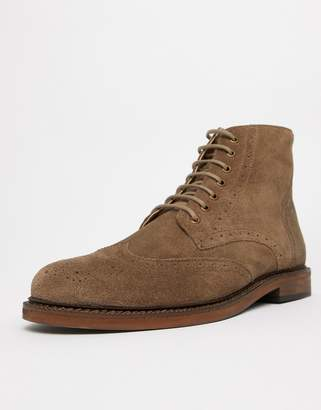 WALK LONDON WALK London Darcy brogue boots in taupe suede