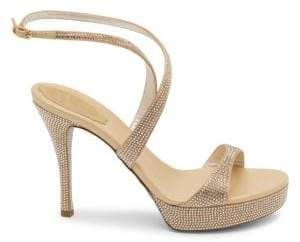 Rene Caovilla Women's Embellished Cross-Front Platform Sandals - Tan - Size 41 (11)