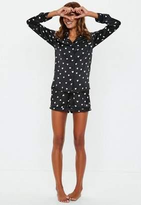 Missguided Black Satin Heart Shirt Short Pyjama Set