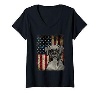 Womens Boxer Dog 4th of July American Flag patriotic Gift V-Neck T-Shirt
