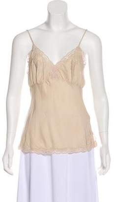 Gold Hawk Silk Lace-Trimmed Top