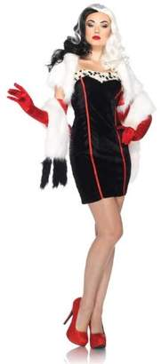 Leg Avenue Disney 4Pc. Cruella Costume Dress Bolero Straps Furry Wrap