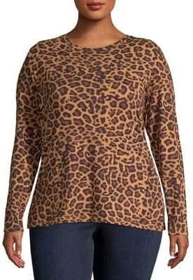 Lord & Taylor Plus Plus Long-Sleeve Leopard Print Top