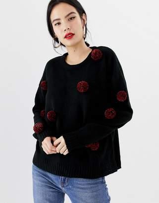Brave Soul sweater with tinsel pom poms