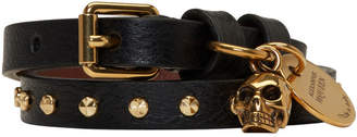 Alexander McQueen Black and Gold Studded Skull Double Wrap Bracelet