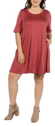 24/7 Comfort Apparel 24Seven Comfort Apparel Pocket Plus Size Mini Dress
