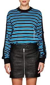 Givenchy Women's Logo Striped Cotton T-Shirt - Blue