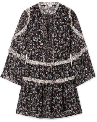 Ulla Johnson Essie Ruffled Floral-print Fil Coupé Silk-blend Chiffon Mini Dress - Black
