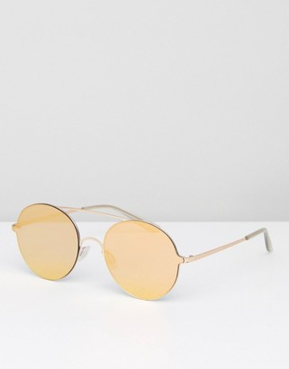 Round Sunglasses With Gold Flat Lens