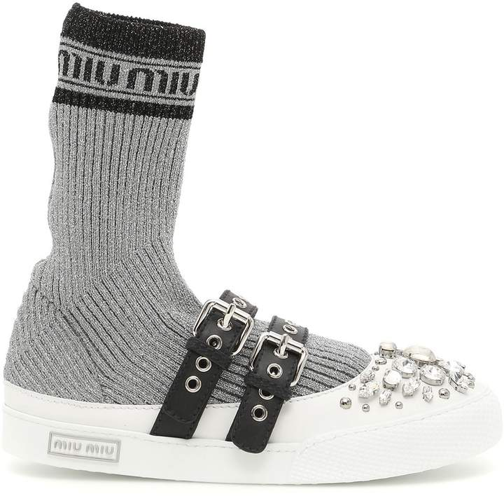 Lurex Knit Hi-top Sneakers
