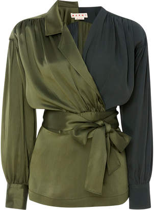 Marni Two-Tone Belted Crepe de Chine Wrap Blouse