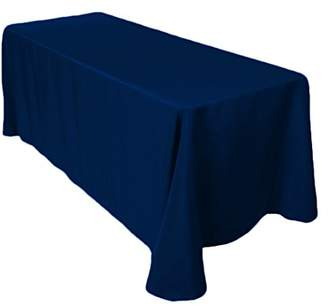 Gee Di Moda Rectangle Tablecloth - 90 x 132 Inch - Navy Blue Rectangular Table Cloth for 6 Foot Table in Washable Polyester - Great for Buffet Table