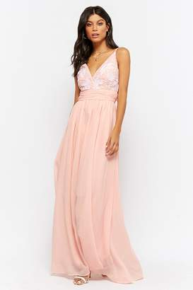 Forever 21 Embroidered Chiffon Prom Gown