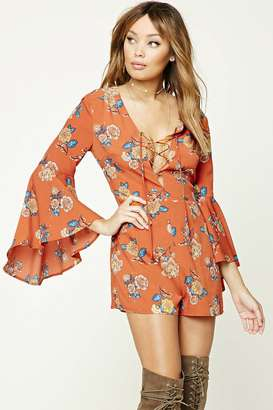 FOREVER 21+ Floral Trumpet Sleeve Romper $22.90 thestylecure.com