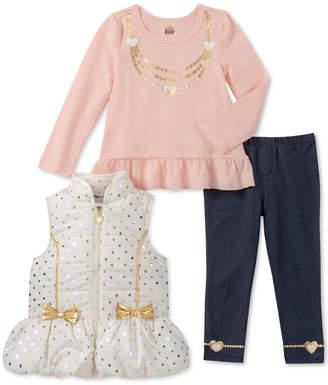 Kids Headquarters Little Girls 3-Pc. Puffer Vest, Peplum T-Shirt & Denim Leggings Set
