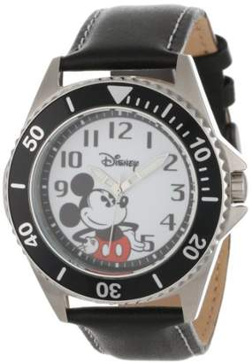 EWatchFactory Disney Men's W000518 Mickey Mouse Honor Leather Strap Watch