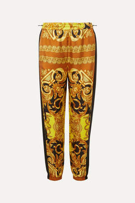 Versace Printed Silk-twill Tapered Track Pants - Yellow