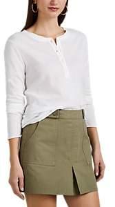 Barneys New York Women's Slub Cotton-Cashmere Long-Sleeve Henley - White