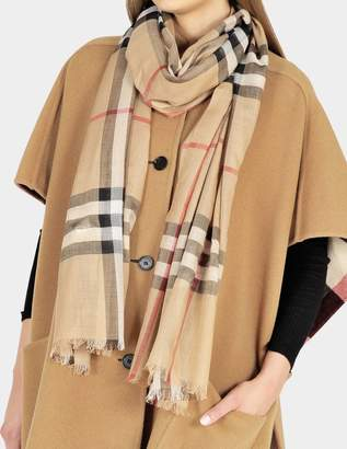 Burberry Gauze Giant Check Scarf in Camel Check Wool and Silk
