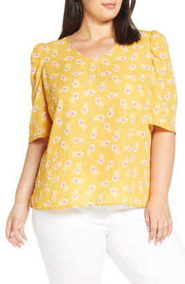 Vince Camuto Floral Puff Shoulder Top