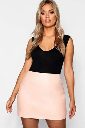 boohoo Plus Leather Look A Line Mini Skirt