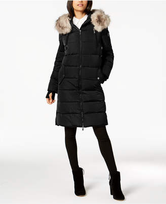 BCBGeneration Faux-Fur-Trim Hooded Puffer Coat