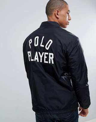Polo Ralph Lauren Insulated Coach Jacket Large Player And Back Logo Print In Black