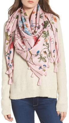 Treasure & Bond Floral Print Tassel Silk Scarf